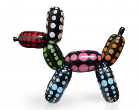 Balloon Dog Black Color Dots L