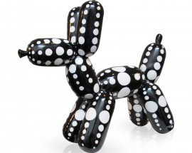 Balloon Dog Black White Dots L